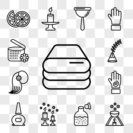 Set Of 13 transparent icons such as spa, scented candle, Bottle of glass with massage oil for nail polish bottle, Hand an spiral, web ui editable icon pack, transparency