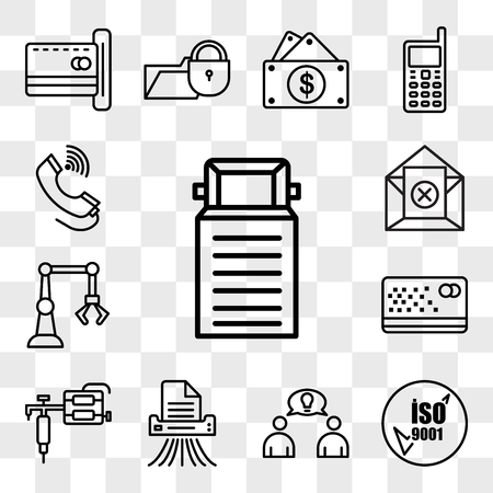 Set Of 13 transparent editable icons such as truck, iso 9001, founder, shding, tattoo gun, punch card, industry 4.0, unsubscribe, tele, web ui icon pack, transparency set Stock Illustratie