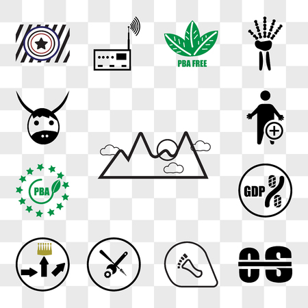 Set Of 13 transparent icons such as pinnacle, occupational therapy, podiatry, troubleshooting, leaderboard, gdp, bpa free, web ui editable icon pack, transparency set