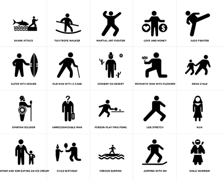 Set Of 20 simple editable icons such as Drag child, Person surfing, Child Birthday, Sufer with board, Cowboy on desert, web UI icon pack, pixel perfect
