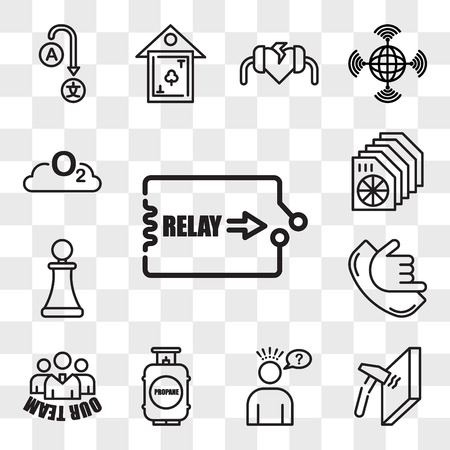 Set Of 13 transparent editable icons such as relay, unbreakable, misunderstanding, propane tank, our team, call me, pawn shop, heat sink, o2, web ui icon pack, transparency set