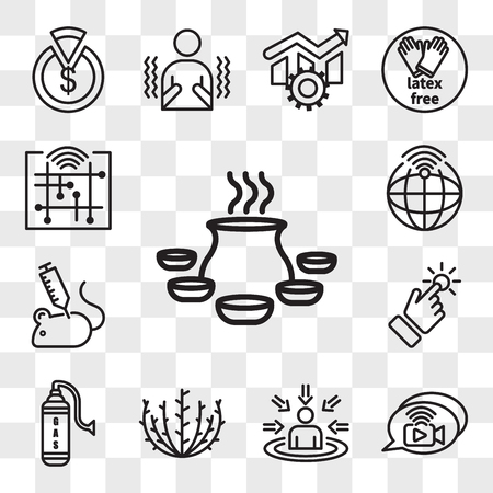 Set Of 13 transparent icons such as biryani, livechat, customer centricity, tumbleweed, gaz, touchpoint, animal experimentation, telemetry, web ui editable icon pack, transparency set