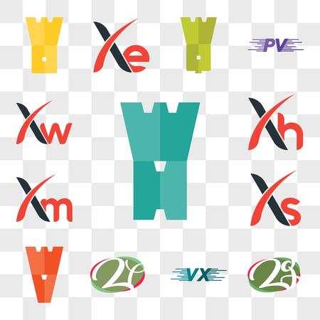 Set Of 13 transparent editable icons such as WH, zg or gz, VU UV, zf fz, WV, Xs, Xm, Xh, Xw, web ui icon pack, transparency set Ilustração