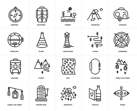 Set Of 20 icons such as Kayak, Bottle, Mountain, Fishing rod, Cable car cabin, Caravan, Hiking, Mat, Luggage, Flask, Forest, web UI editable icon pack, pixel perfect