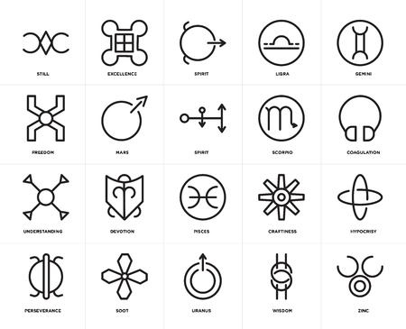 Set Of 20 icons such as Zinc, Wisdom, Uranus, Soot, Perseverance, Gemini, Scorpio, Pisces, Understanding, Mars, Spirit, web UI editable icon pack, pixel perfect Illustration