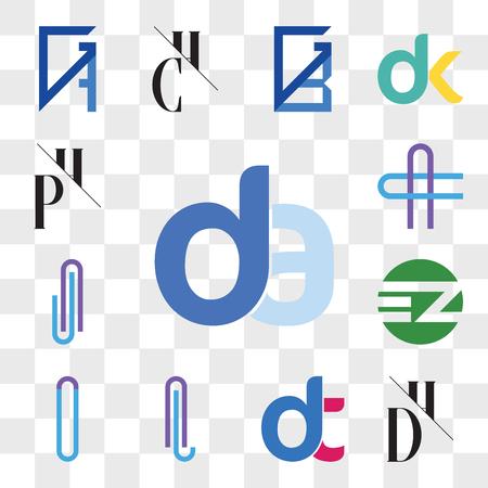 Set Of 13 transparent editable icons such as da, ad, DH, HD, dt, dt, AL or LA Letter, AT TA EZ ZE, AJ JA AC CA PH, HP, web ui icon pack, transparency set Ilustração