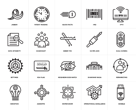 Set Of 20 simple editable icons such as dongle, dual camera, iptv, imei, innvation, patent pending, shaniwar wada, data integrity, web UI icon pack, pixel perfect 向量圖像