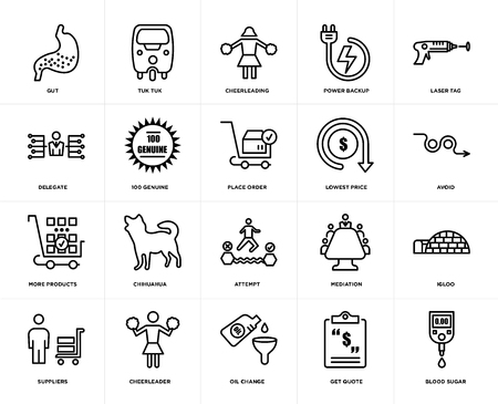 Set Of 20 simple editable icons such as blood sugar, avoid, laser tag, power backup, suppliers, tuk tuk, mediation, delegate, web UI icon pack, pixel perfect Stock Illustratie