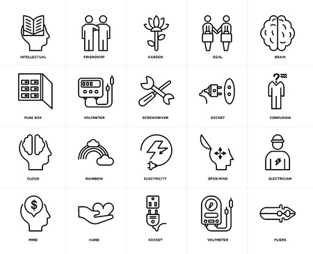 Set Of 20 icons such as Pliers, Voltmeter, Socket, Hand, Mind, Brain, Electricity, Cloud, Garden, web UI editable icon pack, pixel perfect
