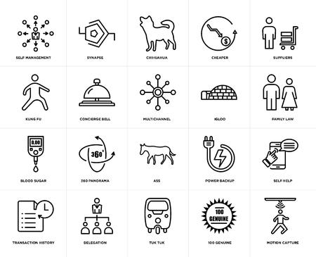 Ensemble de 20 icônes modifiables simples telles que capture de mouvement, droit de la famille, fournisseurs, moins cher, historique des transactions, synapse, sauvegarde d'alimentation, kung fu, pack d'icônes d'interface utilisateur Web, pixel parfait Vecteurs