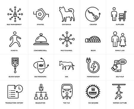 Set Of 20 simple editable icons such as motion capture, family law, suppliers, cheaper, transaction history, synapse, power backup, kung fu, web UI icon pack, pixel perfect