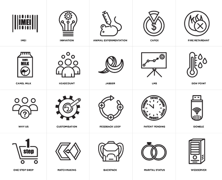 Set Of 20 simple editable icons such as webserver, dew point, fire retardant, capex, one stop shop, innvation, patent pending, camel milk, web UI icon pack, pixel perfect