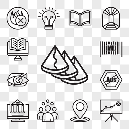 Set Of 13 transparent editable icons such as samosa, lms, location, headcount, netbanking, remove ads, neighborhood watch, imei, Studies, web ui icon pack, transparency set
