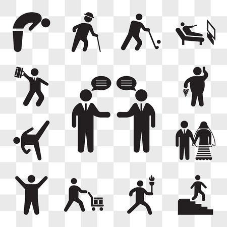 Set Of 13 transparent icons such as Businessmen talking, Man descending stairs, running with sport torch, Worker loading boxes, Arms up, Marriage couple, web ui editable icon pack, transparency