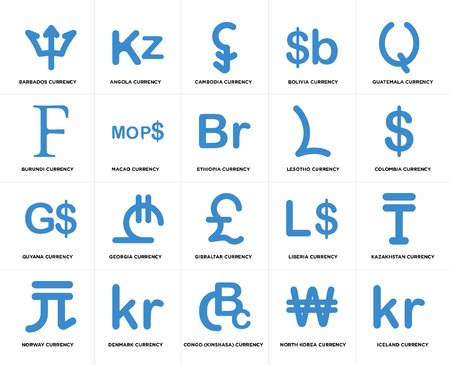Set Of 20 simple editable icons such as Colombia currency, Congo (Kinshasa) Denmark Burundi Ethiopia web UI icon pack, pixel perfect Illustration