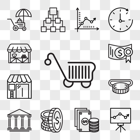 Set Of 13 transparent editable icons such as Cart, Graph, Change, Coin, Bank, Insert coin, Barbershop, Investment, Grocery, web ui icon pack, transparency set Illustration
