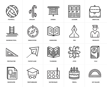 Set Of 20 icons such as square, Pencil, Watercolor, Mortarboard, Newspaper, Briefcase, Pen, Yearbook, Protractor, Orientation, Screen, web UI editable icon pack, pixel perfect Illustration