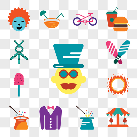 Set Of 13 transparent editable icons such as Magician, Carousel, Tuxedo, Ring of fire, Cotton candy, Juggling, Balloon modelling, web ui icon pack, transparency set