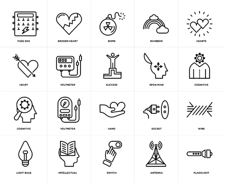 Set Of 20 icons such as Flashlight, Antenna, Switch, Intellectual, Light bulb, Hearts, Open mind, Hand, Cognitive, Voltmeter, Bomb, web UI editable icon pack, pixel perfect