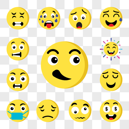 Set Of 13 transparent editable icons such as Cool, Rich, Confused, Sad, Sick, Smile, Outrage, Cheering, Sca, web ui icon pack, transparency set Çizim