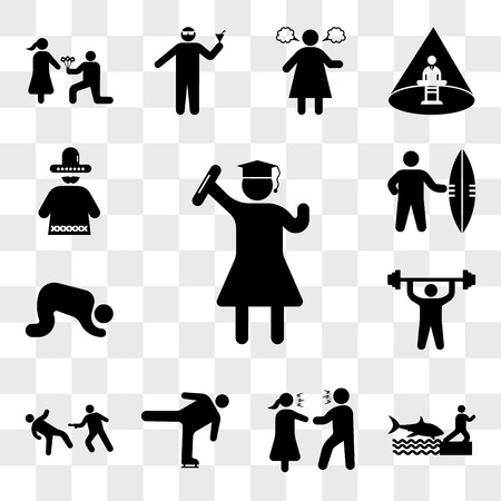 Set Of 13 transparent icons such as Graduated student, Shark attack, Couple Arguing, Ice skating move, Matrix Scene, Man doing exercises, Muslim Prayer, web ui editable icon pack, transparency set