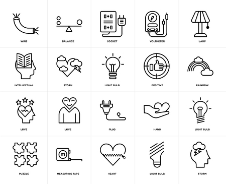 Set Of 20 icons such as Storm, Light bulb, Heart, Measuring tape, Puzzle, Lamp, Positive, Plug, Love, Socket, web UI editable icon pack, pixel perfect Ilustración de vector