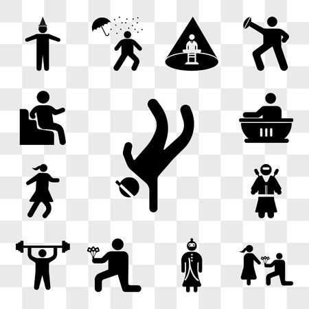 Set Of 13 transparent icons such as Breakdancing, Man giving flowers, Samurai Warrior, Romantic man with doing exercises, Ninja warrior, web ui editable icon pack, transparency