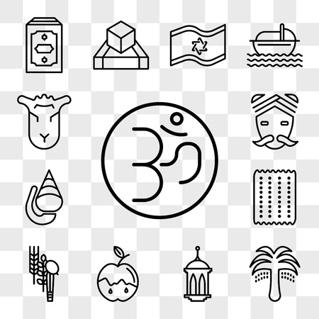 Set Of 13 transparent icons such as Om, Palm Tree with Date, Islamic Lantern, Apple and Honey, Four Species, Matzo, Conch shell, Hindu, web ui editable icon pack, transparency set