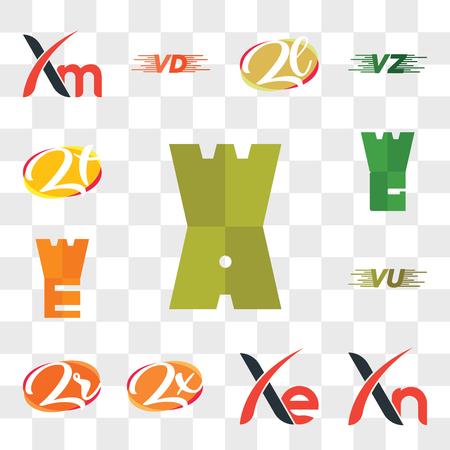 Set Of 13 transparent editable icons such as WA, Xn, Xe, Zx, Zr or rZ, VU UV, WE, Zt tZ, web ui icon pack, transparency set Ilustração