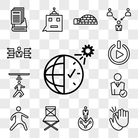 Set Of 13 transparent icons such as daylight savings, applause, customer segmentation, folding chair, kung fu, user, motion capture, get started, web ui editable icon pack, transparency set