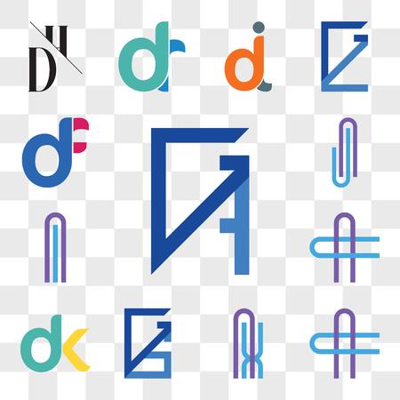 Set Of 13 transparent icons such as GB, BG, AC or CA Letter, AX XA GS, SG, dk, kd, Al lA AJ JA web ui editable icon pack, transparency set Ilustração