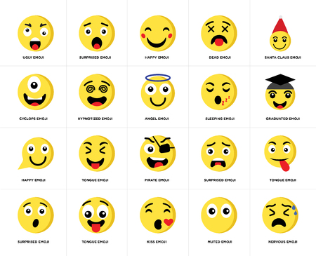 Set Of 20 simple editable icons such as Surprised emoji, Muted Santa claus Tongue Hypnotized web UI icon pack, pixel perfect