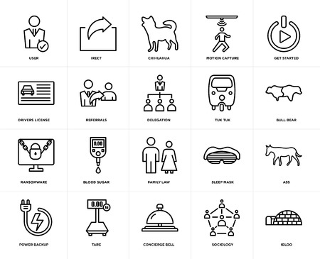 Set Of 20 icons such as igloo, sociology, concierge bell, tare, power backup, get started, tuk tuk, family law, ransomware, referrals, chihuahua, web UI editable icon pack, pixel perfect Illustration