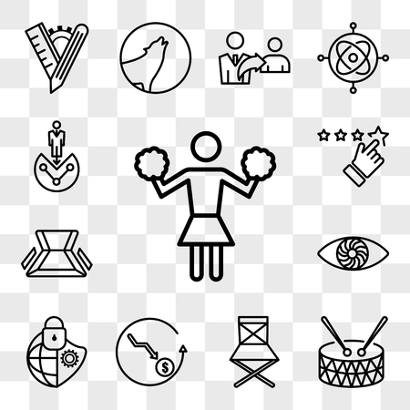 Set Of 13 transparent icons such as cheerleader, marching band, folding chair, cheaper, cybersecurity, hypnosis, rate us, web ui editable icon pack, transparency set