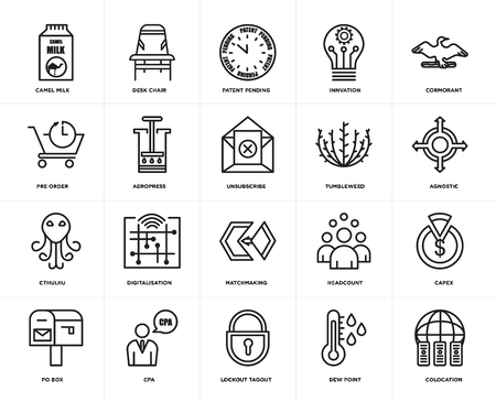 Set Of 20 icons such as colocation, dew point, lockout tagout, cpa, po box, cormorant, tumbleweed, matchmaking, cthulhu, aeropress, patent pending, web UI editable icon pack, pixel perfect