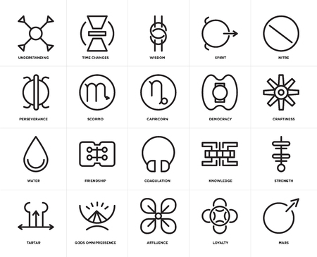 Set Of 20 icons such as Mars, Loyalty, Affluence, Gods omnipressence, Tartar, Nitre, Democracy, Coagulation, Water, Scorpio, Wisdom, web UI editable icon pack, pixel perfect