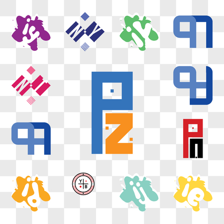 Set Of 13 transparent editable icons such as PZ or ZP, ie ei, ij ji, YB, id di, PA AP, QA AQ, NT TN, web ui icon pack, transparency set Illustration