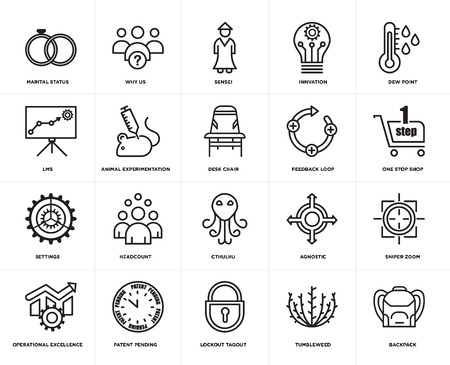 Set Of 20 simple editable icons such as Backpack, one stop shop, dew point, innvation, operational excellence, why us, agnostic, lms, web UI icon pack, pixel perfect