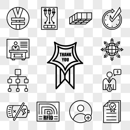 Set Of 13 transparent editable icons such as thankyou, underwriting, friend request, rfid, dead battery, cfo, org chart, global expansion, exhibitors, web ui icon pack, transparency set Illustration