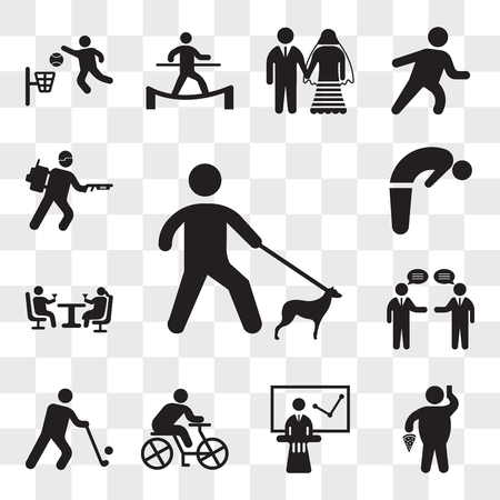 Set Of 13 transparent icons such as Walking with dog, Fat Man With Pizza and Telephone, Business exposition, Cyclist, Golfer, Businessmen talking, web ui editable icon pack, transparency