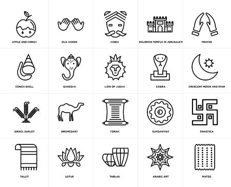 Set Of 20 icons such as Matzo, Arabic Art, Tablas, Lotus, Tallit, Prayer, Cobra, Torah, Israel Barley, Ganesha, Hindu, web UI editable icon pack, pixel perfect