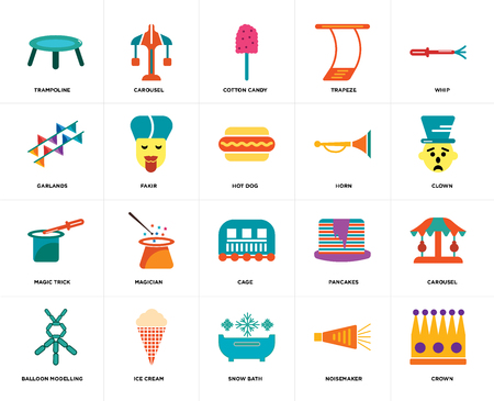 Set Of 20 icons such as Crown, Noisemaker, Snow bath, Ice cream, Balloon modelling, Whip, Horn, Cage, Magic trick, Fakir, Cotton candy, web UI editable icon pack, pixel perfect