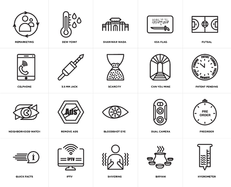 Set Of 20 simple editable icons such as hygrometer, patent pending, futsal, ksa flag, quick facts, dew point, dual camera, celphone, web UI icon pack, pixel perfect