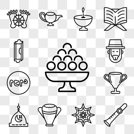 Set Of 13 transparent editable icons such as Laddu, Shehnai, Arabic Art, Manna Jar, Medina, Laver of Washing, Muhammad Word, Rabbi, Mezuzah, web ui icon pack, transparency set