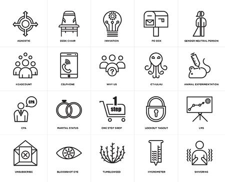 Set van 20 eenvoudige bewerkbare pictogrammen zoals rillen, dierproeven, genderneutraal persoon, postbus, uitschrijven, bureaustoel, lockout-tagout, personeelsbestand, web UI-pictogrampakket, pixel perfect