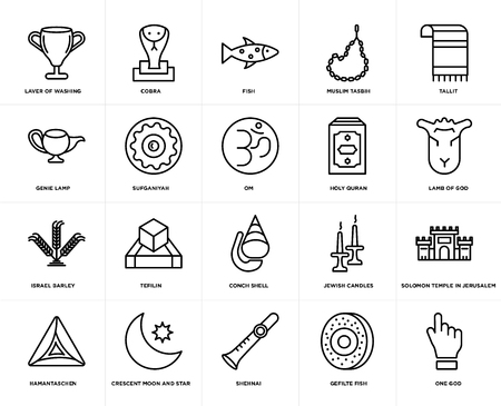 Set Of 20 simple editable icons such as One God, Lamb of Tallit, Muslim Tasbih, Hamantaschen, Cobra, Jewish Candles, Genie Lamp, web UI icon pack, pixel perfect