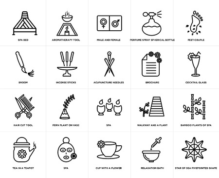 Set Of 20 simple editable icons such as Aromatherapy tool, Relaxation bath, Feet couple, Spa, Tea in a teapot, Bamboo plants of spa, Incense sticks, web UI icon pack, pixel perfect Illustration