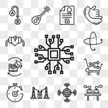 Set Of 13 transparent editable icons such as bigdata, panel discussion, wan, substation, chrono, cross sell, continuing education, 360 tour, defibrillator, web ui icon pack, transparency set