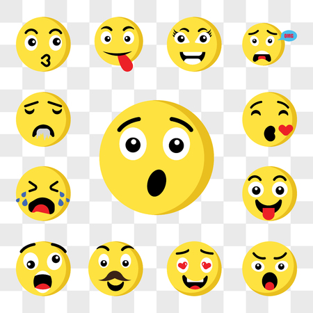 Set Of 13 transparent icons such as Surprised emoji, Angry In love Father Shocked Tongue Crying Kiss web ui editable icon pack, transparency set
