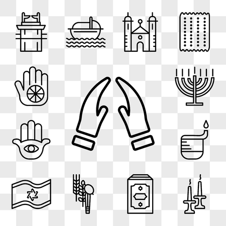 Set Of 13 transparent editable icons such as Prayer, Jewish Candles, Holy Quran, Four Species, Israel Flag, Dipa, Hamsa Hand, Big Menorah, Karma, web ui icon pack, transparency set Illustration